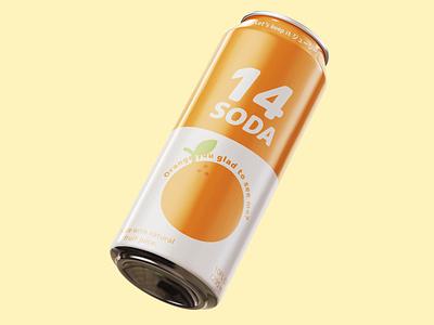 Orange 14 (ジューシー) Soda ジューシー pun illustrator photoshop fruit can soda can soda green orange japanese nihongo graphic design white