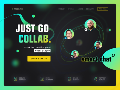 Smart Chat UI Design black abstract typography gradient web blue green geometry colorful webdesign