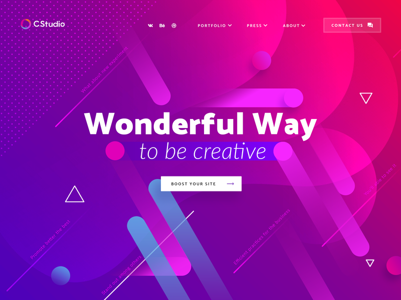 Colorful Gradient Boom photoshop uidesign typography circle graphicdesign creative blue violet pink lineart bright colorful abstract geometry webdesign gradient