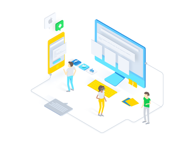 Isometric Illustration for a tech business tech nice colors brazil startup illustration isometric isometric illustration
