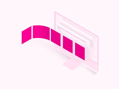 Illustration for UI Lab brazil cards envelope email course ui pink isometric isométrica