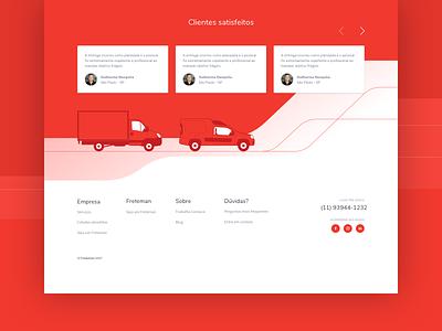 Freteman truckage red user interface landing page illustration car truck