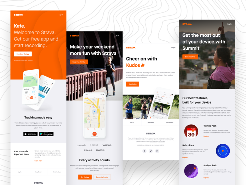Strava Onboarding Emails fitness cycling running email templates growth design onboarding html email email design email strava