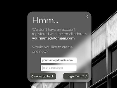 Daily UI 016 - Modal ui design user interface ui error signup dialog overlay modal pop up 016 dailyui