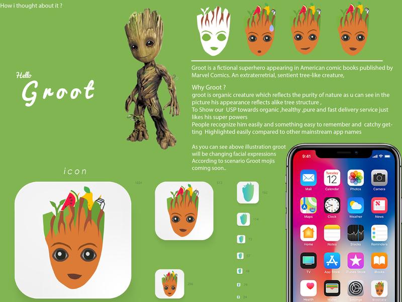 Grootary Grocery - mascot tree iphonex organic green ipadpro graphic design groot forms ux web ui icon app logo typography branding artworks illustraion design