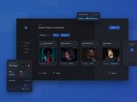 Remote Work Dashboard - Team Selection product developer designer tool app management project teamwork flow remote team ux dashboard
