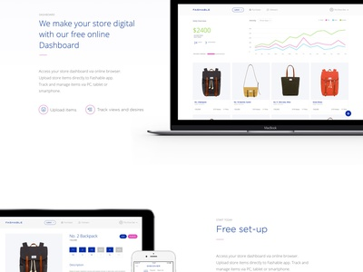 Fashable Landing Page simple startup app mobile responsive landing flat web