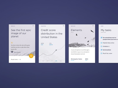 Cards simple flat cool mobile web layout interface card ux ui