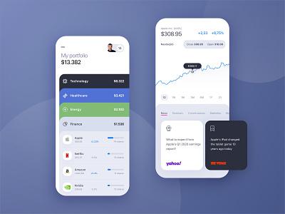 Stock Portfolio App UI Research trading product mobile planner finance personal portfolio market stock simple flat