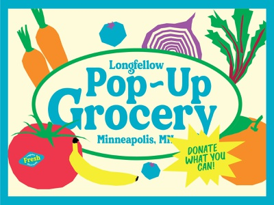 LONGFELLOW POP-UP GROCERY icon social media typography vector branding logo vegetables grocery minnesota minneapolis design non-profit