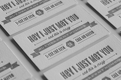 Call me maybe letterpress callme cyclone wisdom silver grey card letter press business card