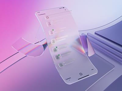 Contact list 3D glass cycles blender render illustration flat design 3d ui