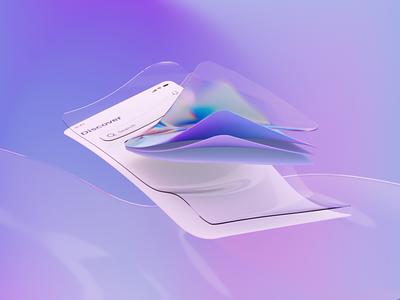 3D UI render mobile graphic design render glass illustration cycles blender 3d ui flat design