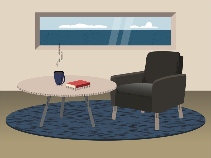 coffee and a good read ocean coffee book vector mac adobe illustrator illustrator flat design
