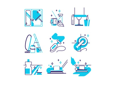 Icons for cleaning company blue blue and white icon icons set illustration cleaning