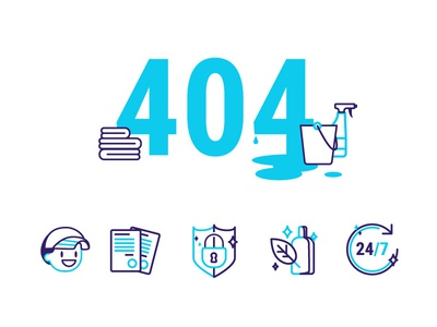 Icons for cleaning company cleaning blue and white blue 404-error 404 page icons icons set illustration