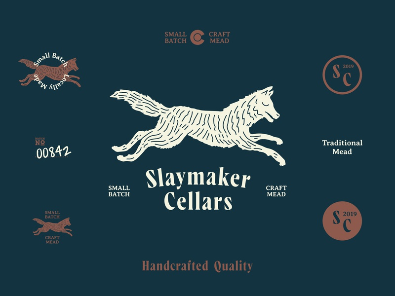 Slaymaker Cellars Identity badge design vector illustration logo identity typography minimal clean design branding