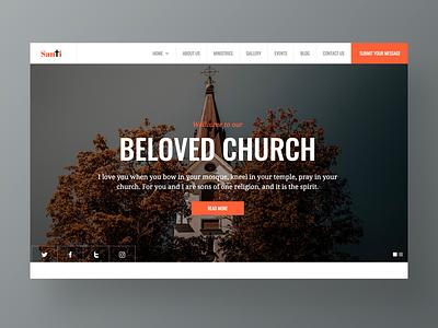 Santi – Church Website Template agency site challenge faith christmas character design ui ux typography corporate homepage app website web design landing church