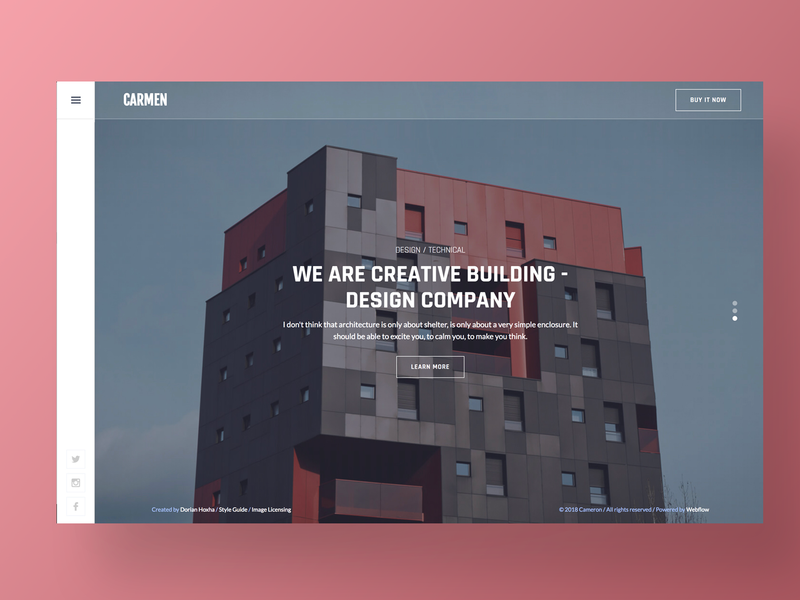 Carmen – Architecture Website Template clean interaction homepage flat page branding minimal site ui studio design corporate agency app landing web website architect architecture real estate
