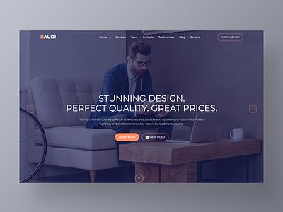 Baudi – Creative Website Template onepage page layout modern branding ui homepage corporate minimal site design agency studio real estate furniture website web landing app