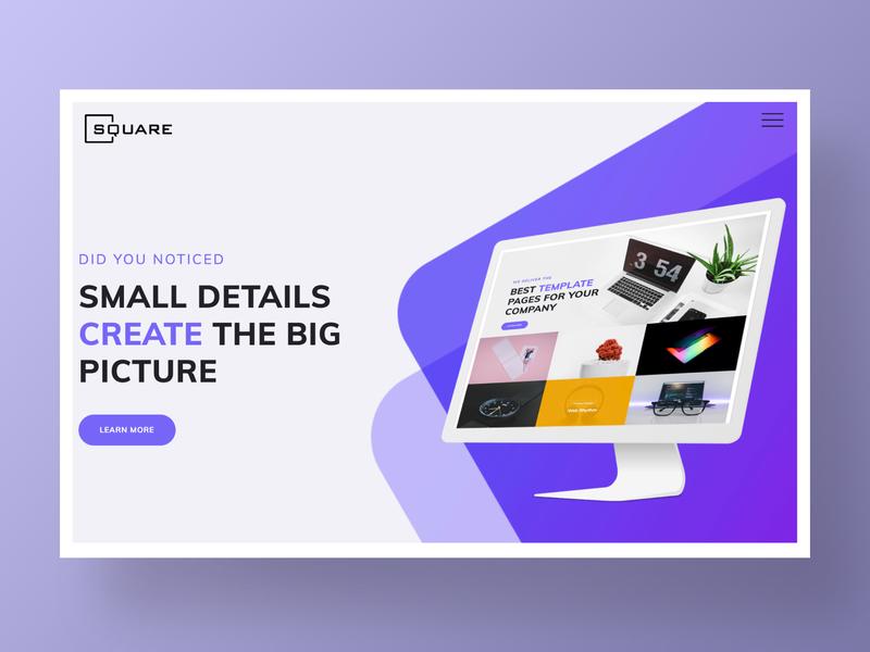 Square – Business Website Template clean identity minimal web design studio corporate ux interaction kit logo app web site typography homepage website agency design landing ui