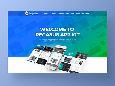 Pegasus – UI Kit Website Template landing page design one page branding flat shop interaction minimal typography page site ux design corporate app agency web website ui landing
