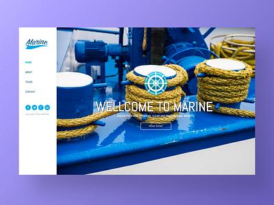 Marine – Travel Website Template shop bussines minimal interaction site homepage ux ui nonprofit blue sea cruiser ship journey travel landing website web agency app