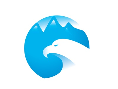 Mountain Eagle identity flying hills mountain illustration vector design ux app logotype ilustration blue corporate ui logo design eagle logo