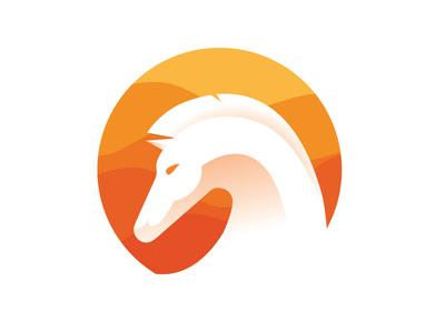 Desert Horse arabic desert free horse mark icon typography illustration vector agency app ui logotype identity design desing brand run orange logo design logo