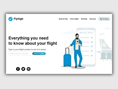 Flight checking web page design concept