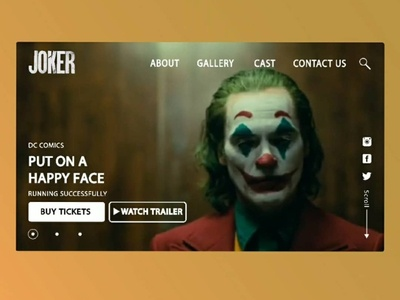 Joker ticket sales web page design concept