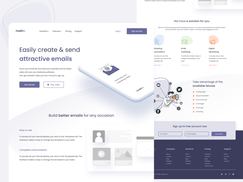 mail𝗶𝗻 - Landing page for email marketing email marketing website web design webdesign minimal landing page landing clean ux uidesign