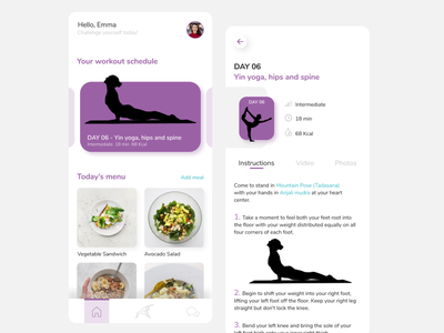 Daily Workouts app workout yoga fitness clean mobile ui mobile app uidesign app ux ui