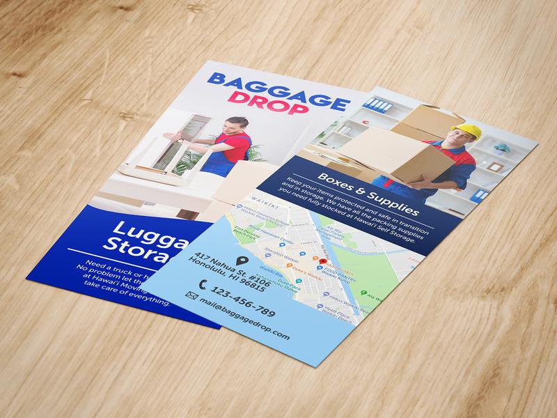 Baggage Drop post card card illustration branding flyer design fab flyer ad flyers flyer design advertisement advertise