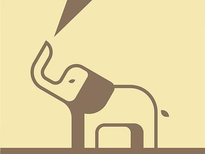 Elephant shape yellow brown elephant illustration