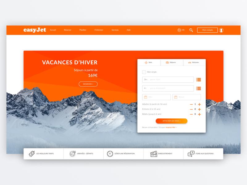[UX/UI Design] Easyjet Redesign material design webdesign figma homepage easyjet redesign landing page web orange branding ui design