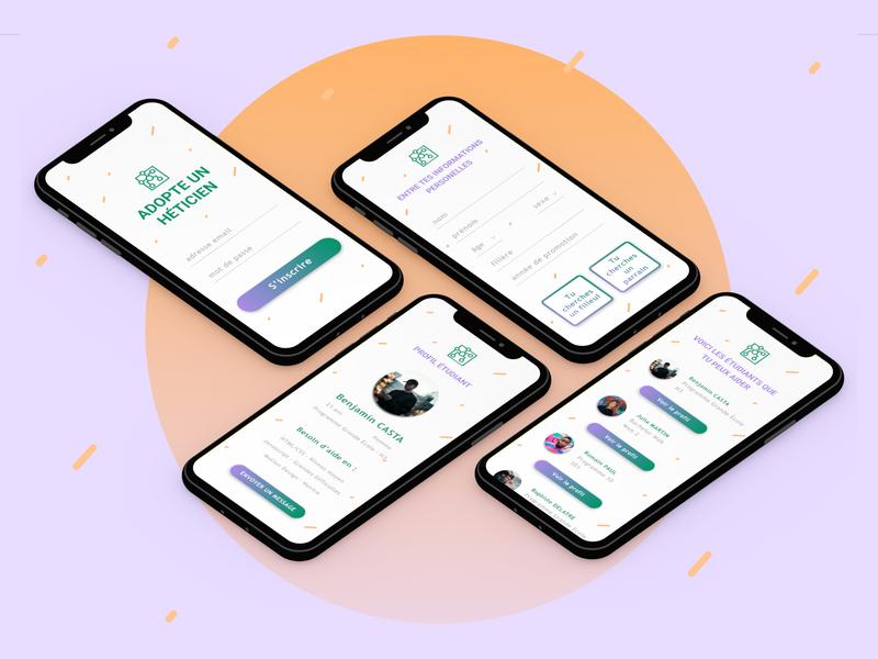 [UX/UI] Speed Design Project mockup profile sign in purple green material mobile orange web ui app figma design ux-ui