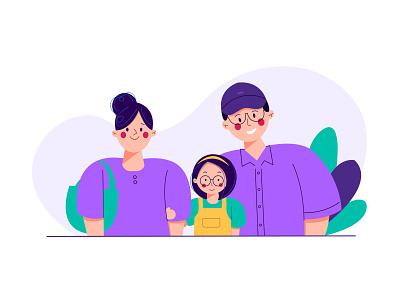 Family digital branding girl header ux ui website vector flat illustration