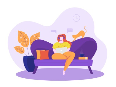 Work From Home self isolation quarantine covid-19 website pose girl header vector illustration flat ui