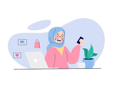 Online shop hijab onlineshop landingpage store web header ux vector illustration flat website ui