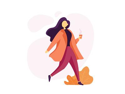 Enjoy it girl pose digital website animation flat web vector design ui illustration