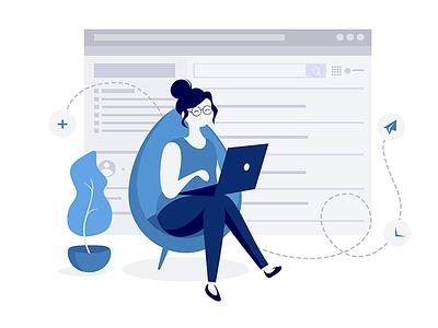 Web Design woman branding graphic pose work client officer customer business ui design ux digital design web illustration ui flat girl website web design