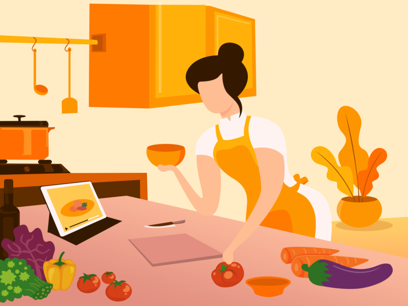 Woman is Cooking web vector pose digital flat design fruits ipad pro girl web illustration character artist cooking kitchen woman branding website ux ui illustration design