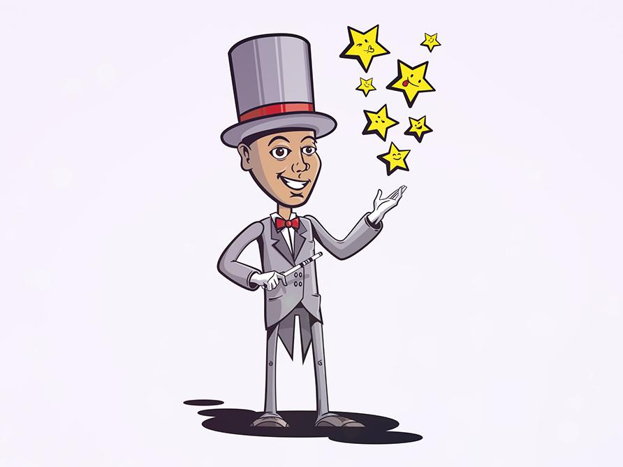 Magician illustration top hat magic wand wand stars magician magic cartoon