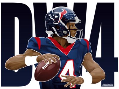 Houston Texans QB Deshaun Watson vector illustration