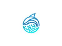 Dolphin/shark and reef logo
