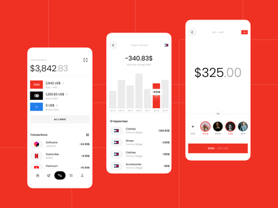 Mobile Design - Bank App Design finance transfer card cards money bank web design mobile design graphic design minimal design system dark theme dark mobile ui