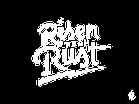 Risen from Rust tagline buffalo brand grunge vintage typography handwritten script illustration logo rust risen