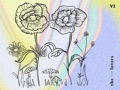 'The Lovers' Major Arcana tarot card vector flat rainbow colors line art blackwork esoteric major arcana psychedelic art colorful linework the lovers tarot tarot card