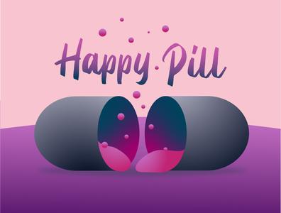 Happy Pill happiness logotype vector icon design illustration frizvan logo ivanlife fiv pills pill happy